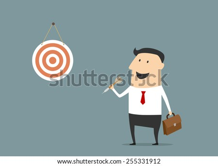 Happy cartoon businessman with dart and dartboard ready to show successful target achievement suitable for business success strategy concept design - stock vector