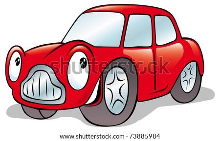 happy cartoon car - stock vector