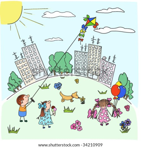 Happy cartoon children play with a kite in city park in the solar afternoon - stock vector