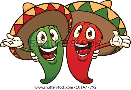 Happy cartoon chili peppers wearing sombreros. Vector illustration with simple gradients. All in a single layer. - stock vector