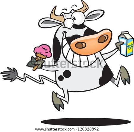 Cow Milk Animation Happy Cartoon Man Ice ...