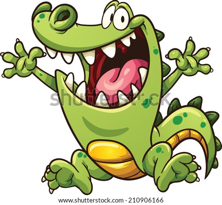 Happy cartoon crocodile. Vector clip art illustration with simple gradients. All in a single layer.  - stock vector