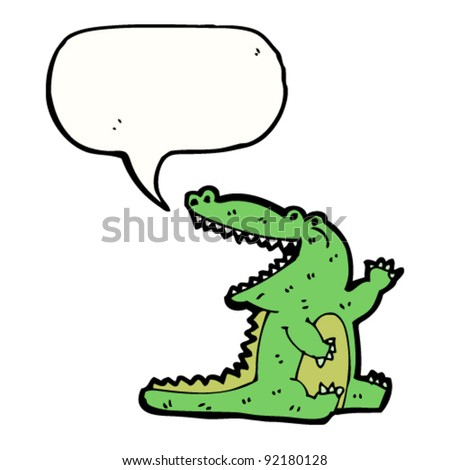 happy cartoon crocodile waving
