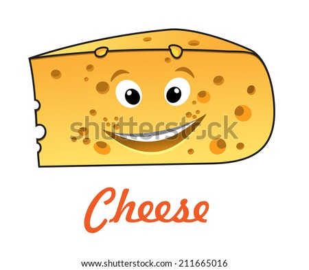 Happy cartoon cute cheese character with text - Cheese, suitable for food market design - stock vector
