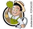 happy cartoon gardener - stock vector
