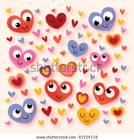happy cartoon hearts - stock vector
