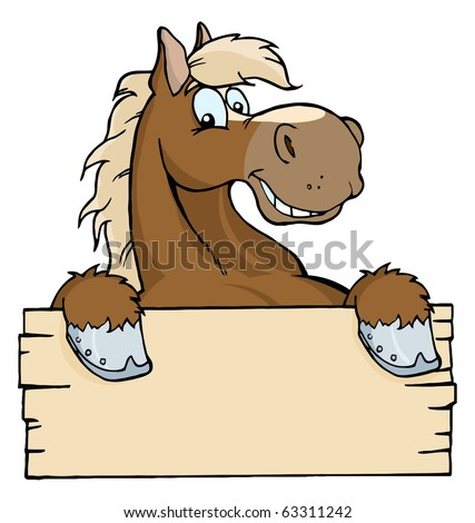 Happy Cartoon Horse With A Blank Sign - stock vector