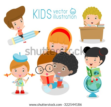 happy cartoon kids in classroom, education concept, back to school template with kids, Kids go to school, back to school, Cute cartoon children, happy children, Vector Illustration. - stock vector