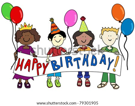 Happy cartoon kids of diverse ethnicity holding a happy birthday banner. - stock vector