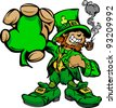 Happy Cartoon Leprechaun on St Patricks Day Holiday Vector Illustration - stock vector