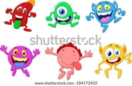 Happy cartoon monster collection - stock vector