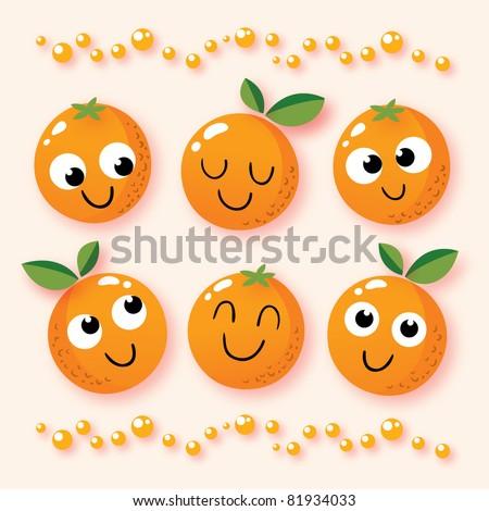 happy cartoon oranges - stock vector