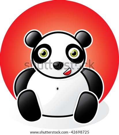 Happy Cartoon Panda - stock vector