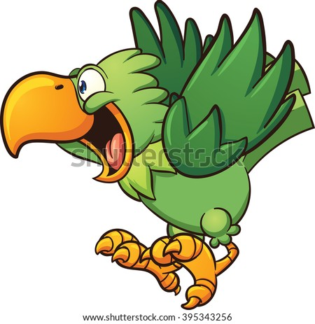 Happy cartoon parrot. Vector clip art illustration with simple gradients. Some elements on separate layers.  - stock vector