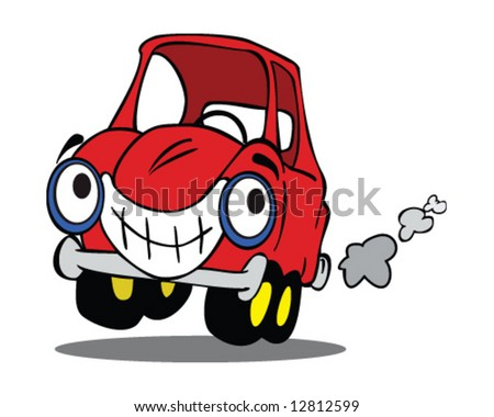 happy cartoon red car, smiling