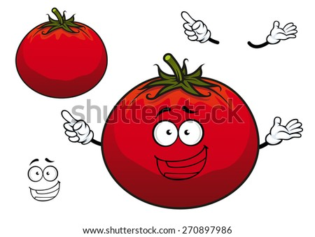 Happy cartoon red tomato plump vegetable character with wavy green stalk on the top for agriculture or vegetarian design