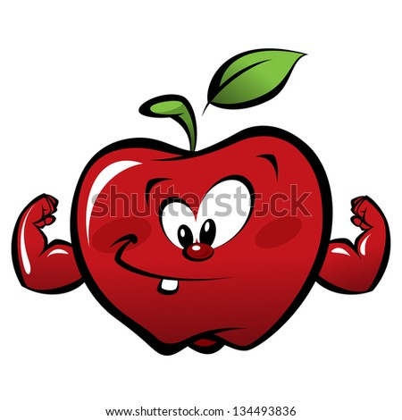 Happy cartoon strong and smiling red apple making a power gesture - stock vector