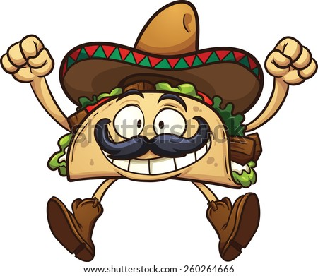 Happy cartoon taco with Mexican sombrero. Vector clip art illustration with simple gradients. All in a single layer. - stock vector
