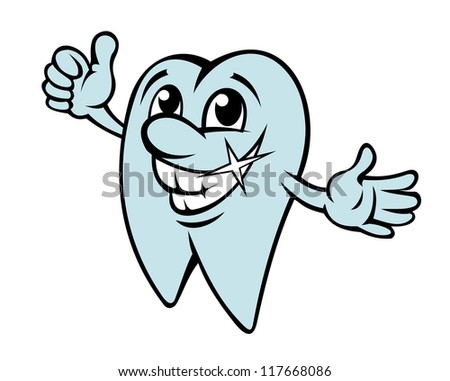 Happy cartoon tooth in clean condition for dentistry design. Jpeg version also available in gallery - stock vector