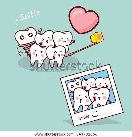 Happy cartoon tooth take selfie, great for health dental care concept - stock vector