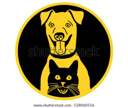 Happy Cat and Dog. Vector Illustration Icon.