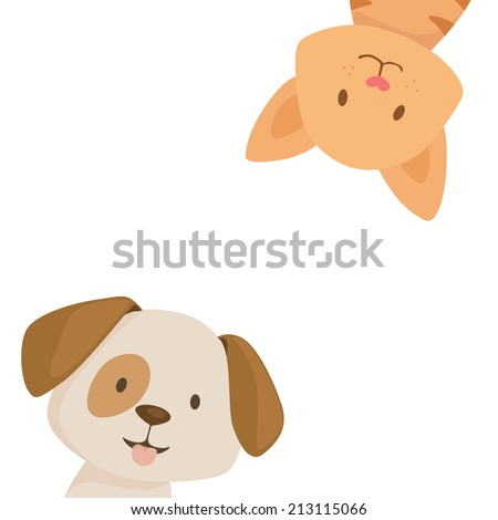 Happy cat and dog with space for your text on white background - stock vector