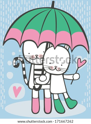Happy cat and hare are walking in the rain with an umbrella. - stock vector