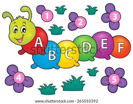Happy caterpillar with letters theme 1 - eps10 vector illustration. - stock vector