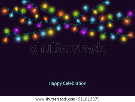 happy celebration christmas new years birthdays and other events colorful led lights lamps hanging garland on - Celebration Christmas Lights