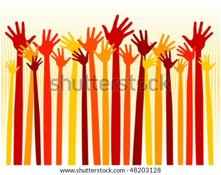 Happy celebration hands vector.