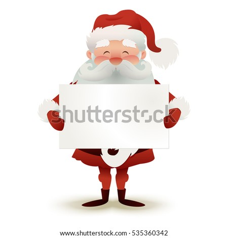 Happy character of Santa Claus holding a Christmas greeting card on light background. Empty space for your text. Vector illustration.