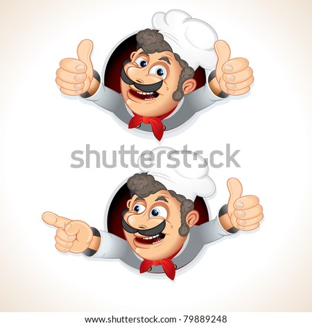 Happy Chef Cook showing thumb up and pointing at something, cartoon vector illustration - stock vector