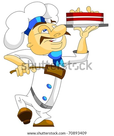 Happy chef in uniform with a cake isolated. Vector version. - stock vector