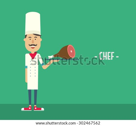Happy chef with a meat dish on a tray. Flat illustration. Vector stock. - stock vector