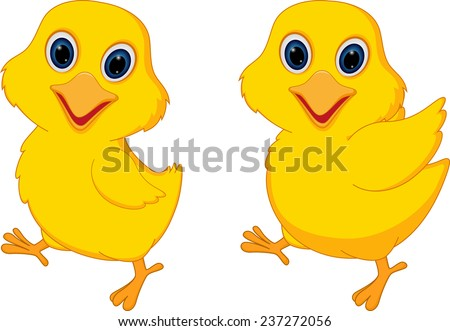 Happy chick cartoon  - stock vector