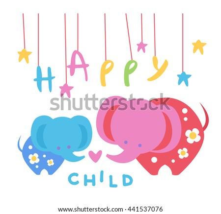 Happy Child Backdrop Illustration With Elephants - stock vector