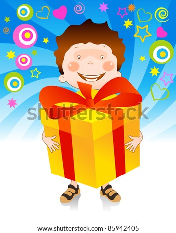 happy child holds in his hands a great gift given him - stock vector