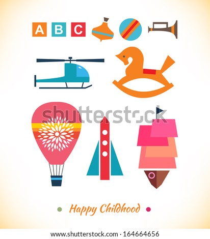 Happy childhood collection. Set with toys. Ball, air balloon, helicopter, sky rocket, humming top, gee-gee. Childish geometric elements for cards, banners, decoration - stock vector