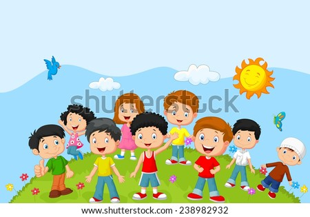 Happy children - stock vector