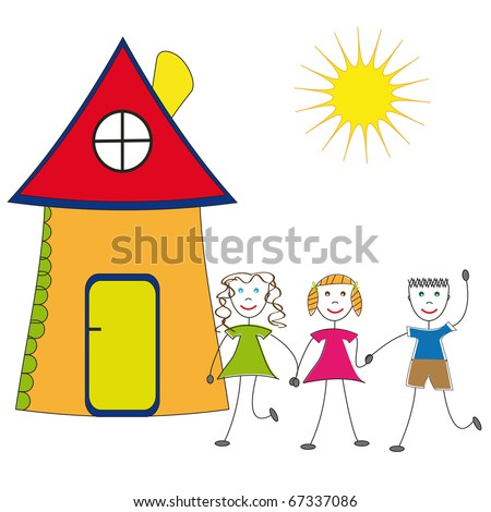 Happy children and their house