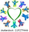Happy children arround the heart - stock vector