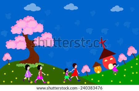 Happy children going to church -vector illustrations - stock vector