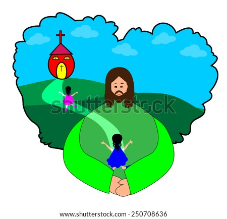 Happy children going to church with Jesus Christ-vector illustrations - stock vector