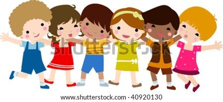 happy children hand in hand - stock vector