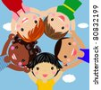 Happy children hand in hand around-illustration - stock vector