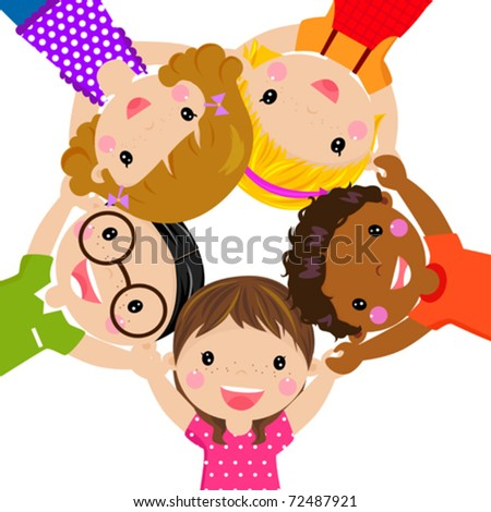 Happy children hand in hand around-illustration - stock vector