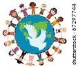 Happy children holding hands around the globe - stock photo