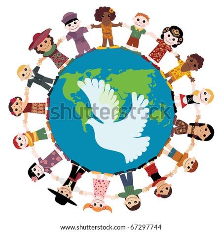 Happy children holding hands around the globe - stock vector