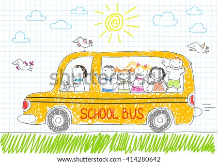 Happy children in yellow school bus. Smiling girls and boys. Vector sketch in doodle style on notebook page