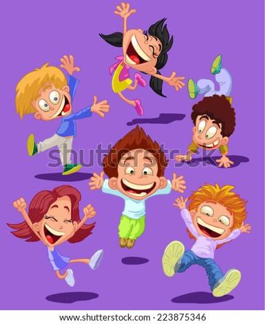 happy children jumping happy, having fun - stock vector